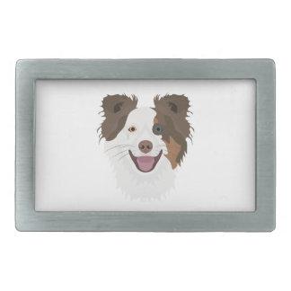 Boucles De Ceinture Rectangulaires Visage heureux border collie de chiens