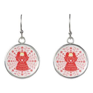 Boucles D'oreilles Ange rouge-clair de Noël de bougie d'enfoncement