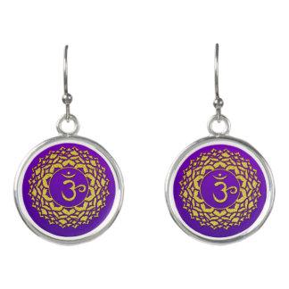 Boucles D'oreilles Art d'or pourpre de Chakra de couronne