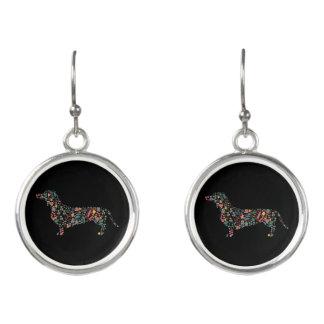 Boucles D'oreilles Art floral d'aquarelle de motif de chien de