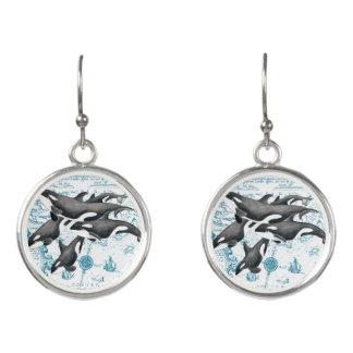 Boucles D'oreilles Bleu antique de famille de baleines d'orque