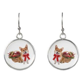 """Boucles D'oreilles Boucles d'oreille de baisse """"de corgi de Noël"""""""