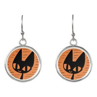 Boucles D'oreilles Camée de chat noir de Halloween