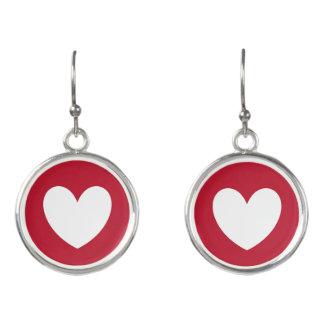 Boucles D'oreilles Coeur blanc sur le rouge