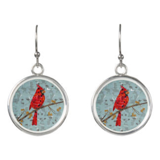 Boucles D'oreilles Collage cardinal d'oiseau de Noël