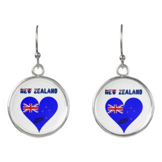 Boucles D'oreilles Drapeau de coeur de la Nouvelle Zélande