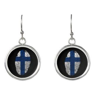 Boucles D'oreilles Drapeau finlandais d'empreinte digitale de contact