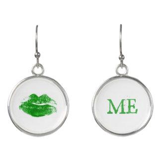Boucles D'oreilles Embrassez-moi que je suis baiser vert irlandais de