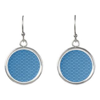 Boucles D'oreilles Étoile de David bleue avec du charme juive