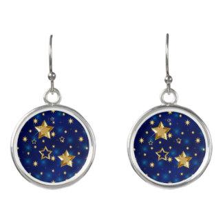 Boucles D'oreilles Étoiles brillantes brillantes de bleu et d'or