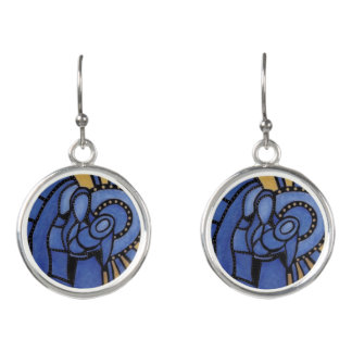 Boucles D'oreilles Famille sainte de Noël moderne bleu