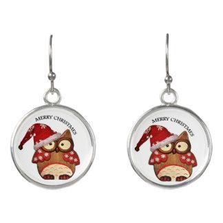 Boucles D'oreilles Hibou de Père Noël avec un casquette rouge de Père