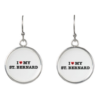 Boucles D'oreilles I coeur mon St Bernard