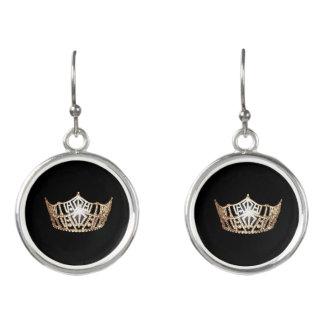 Boucles D'oreilles La couronne d'or de Mlle Amérique balancent des