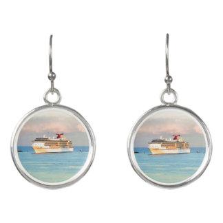 Boucles D'oreilles Lever de soleil en pastel et bateau de croisière