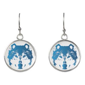 Boucles D'oreilles Loup de bleu glacier d'illustration