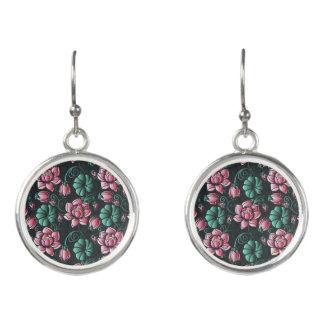 Boucles D'oreilles Motif floral élégant de motif rose de Lotus