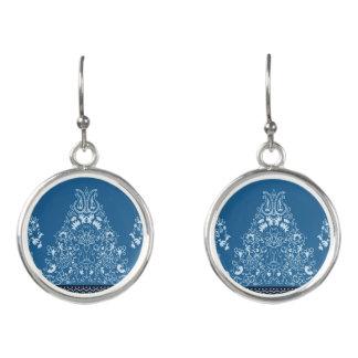 Boucles D'oreilles Motif floral traditionnel bleu de Paisley