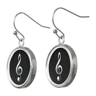 Boucles D'oreilles Musique Blanc-sur-Noire de clef triple