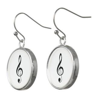 Boucles D'oreilles Musique de clef triple Noir-sur-Blanche