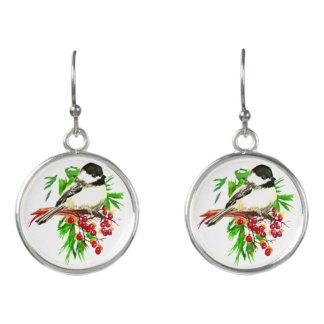 Boucles D'oreilles Noël d'oiseau de Chickadee couvert par noir