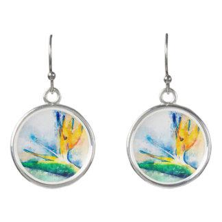 Boucles D'oreilles Oiseau d'art d'aquarelle de paradis
