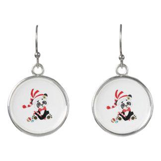 Boucles D'oreilles Panda mignon à Noël