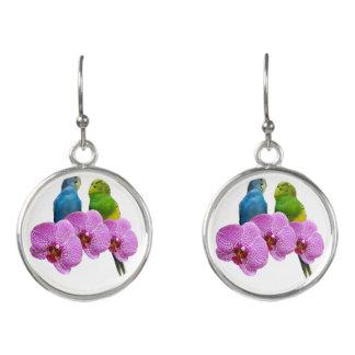 Boucles D'oreilles Perruche avec l'orchidée pourpre
