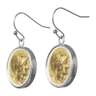 Boucles D'oreilles Pièce de monnaie antique d'Athéna