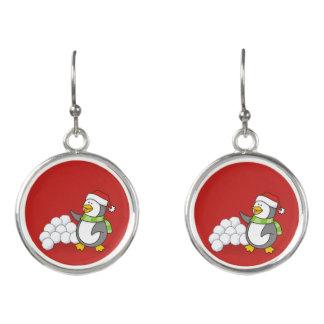 Boucles D'oreilles Pingouin de Noël avec l'ondulation de boules de