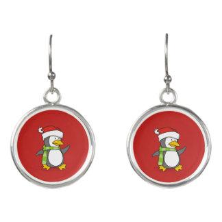 Boucles D'oreilles Pingouin de Noël marchant sur la neige