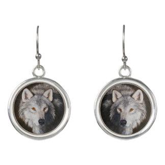 Boucles D'oreilles Portrait de loup gris