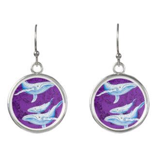 Boucles D'oreilles Pourpre de famille de baleines bleues