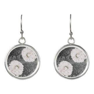 Boucles D'oreilles Romantique gris de pivoine blanche