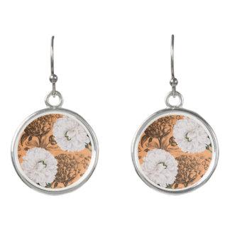 Boucles D'oreilles Romantique orange de pivoine blanche