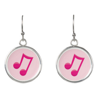 Boucles D'oreilles Rose de notes musicales