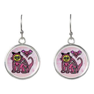 Boucles D'oreilles Squelette d'amour de chat - boucles d'oreille -