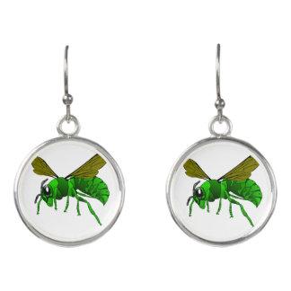 Boucles D'oreilles Vert de bande dessinée et abeille de guêpe de