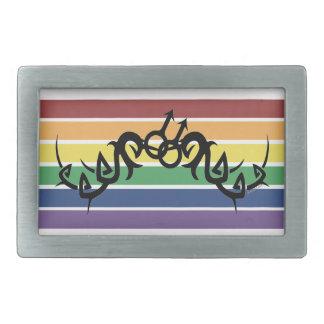 Boucles tribales de symboles d'arc-en-ciel d'homos boucles de ceinture rectangulaires