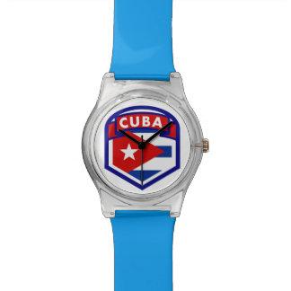 Bouclier cubain de drapeau montres