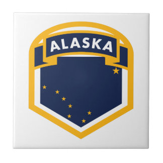 Bouclier de drapeau d'état de l'Alaska AK Petit Carreau Carré