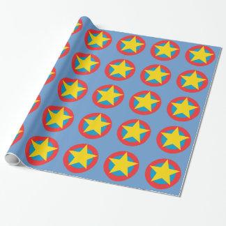 Bouclier d'étoile de superhéros papier cadeau