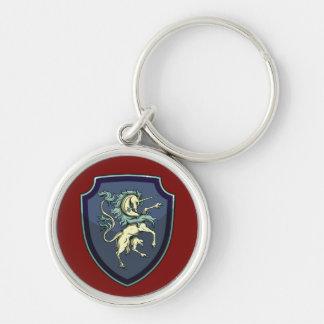 Bouclier du porte - clé de licorne porte-clé rond argenté