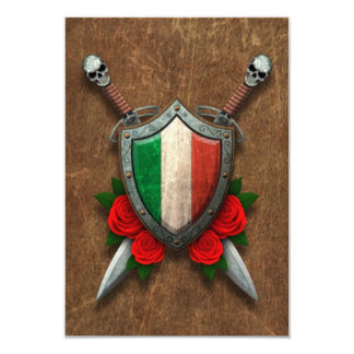 Bouclier et épées italiens âgés de drapeau avec carton d'invitation 8,89 cm x 12,70 cm