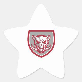 Bouclier fâché de tête de balénoptère de sanglier sticker étoile