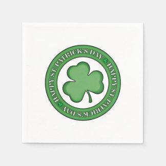 Bouclier heureux de Jour de la Saint Patrick Serviette En Papier
