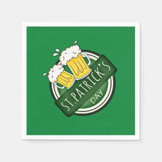Bouclier heureux vert de Jour de la Saint Patrick Serviette Jetable