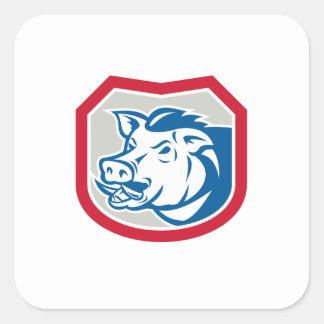 Bouclier sauvage de tête de balénoptère de porc autocollant carré