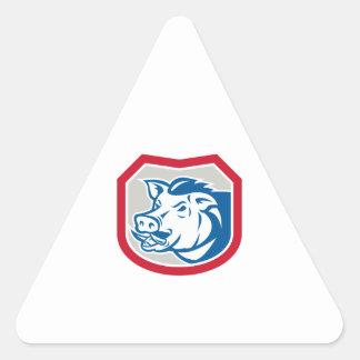 Bouclier sauvage de tête de balénoptère de porc ré autocollants en triangle