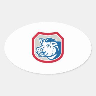 Bouclier sauvage de tête de balénoptère de porc ré stickers ovales